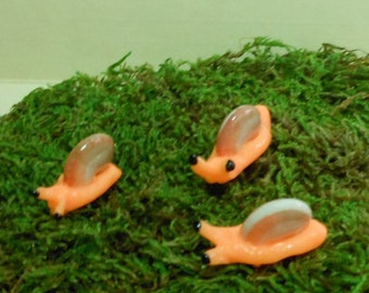 Snails-Set of 3 Orange Glow in the Dark Snails/Fairy Garden/Terrarium Snails-Polymer Clay-OOAK