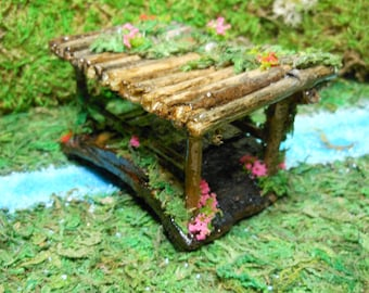Fairy Garden Bridge-Covered Bridge-OOAK-Woodland Fairy Covered Bridge