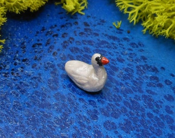 Miniature White Swan-3/8' tall-Polymer Clay Swan