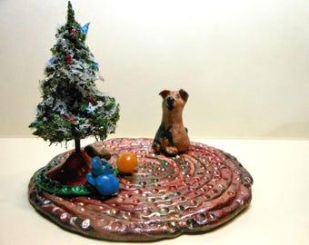 Christmas Dog on a Rug-OOAK-Christmas Tree/dog/dog toys