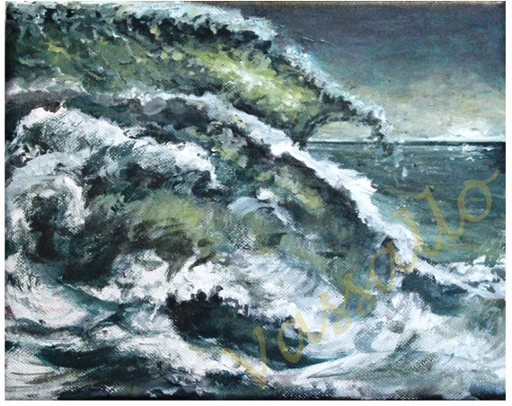 Ocean life acrylic painting art print 8x10 Waives of thoughts