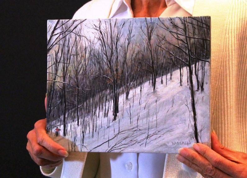 FREE SHIPPING IN U.S. Original Acrylic Painting Northern Michigan Downhill Slalom