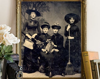 Spooky WITCHES Art Print, Antique Sepia Repro Tintype Photograph Vintage Halloween Decor, Gothic Witch Wall Art Poster, Old Photo Giclee