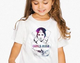 Wonder Woman GIRLS RULE Kids Tee, Cotton Girls 2-6 Years, Toddler Superhero T-shirt, Retro Vintage Wonder Woman American Apparel Tee Shirt
