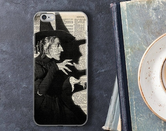 Wicked Witch Phone Case, Wizard of Oz iPhone 7 8 X Plus Case, Vintage Dictionary Art Print Halloween Witches Gifts, iPhone 6s 6 Plus