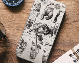CELESTIAL Zodiac iPhone Case, Antique Map Globe Constellations Astronomy iPhone 6s 7 8 X case, iPhone 6 plus Case, iPhone 7 Plus Case