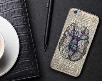 BRAIN Vintage Anatomy Dictionary Art iPhone 7 8 X Case, iPhone 7 Plus Case, iPhone 6s case, Psychology Gifts for Grads iPhone 6 plus Cover