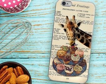 Giraffe Cupcakes Phone Case, Vintage Cake Recipe Dictionary Art, iPhone 7 8 X Plus Case, Animals iPhone 6 6s Plus case, Cover