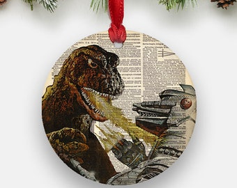 vintage godzilla ornament round aluminum circle hanging christmas tree ornament dictionary art print retro robot monster boys gifts - Godzilla Christmas Ornament