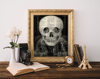 macabre skull optical illusion print halloween wall art home decor sherlock pierrot antique dictionary art skull poster goth dorm decor