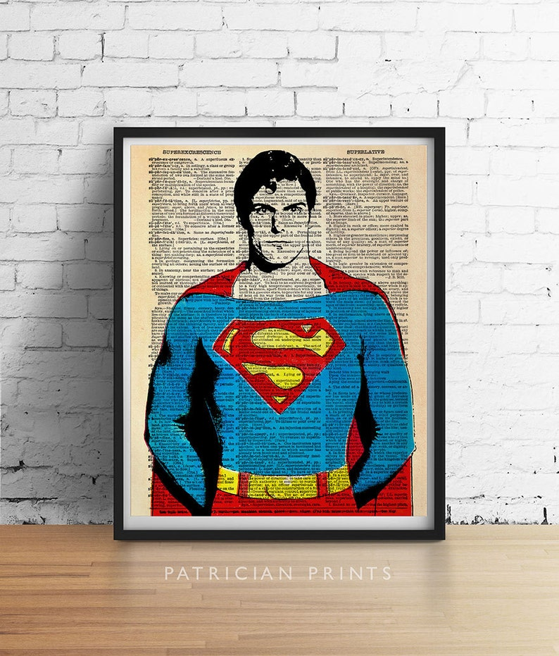 7093a812 SUPERMAN Art Print, Super Man Hero Poster, Retro Vintage Dictionary Wall  Art, Appreciation Gift Coach Mentors Dad Boyfriend Fathers Day