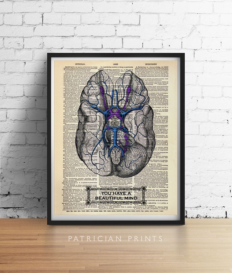 You Have a Beautiful Mind BRAIN Print Anatomy Psychology Illustration Art Print Poster Antique Dictionary Book Page Wall Dorm Office Decor