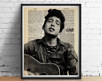 Young Bob DYLAN Dictionary Page Art Print Poster Folk Rock Country Poet - Black and White Wall Decor - Vintage Book Page