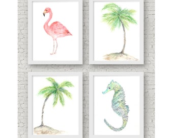 Tropical prints, beach print, tropical decor, beach wall art, tropical wall art set, palm tree print, flamingo print, set of 4 prints