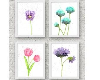 Watercolor flowers, watercolor flower painting, watercolor nursery wall art, flower wall art, flower print set, flower art set of 4