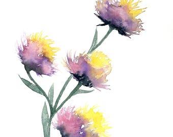 Watercolor flowers, watercolor flower print, floral watercolor, flower art, purple flower art, flower watercolor painting, floral print