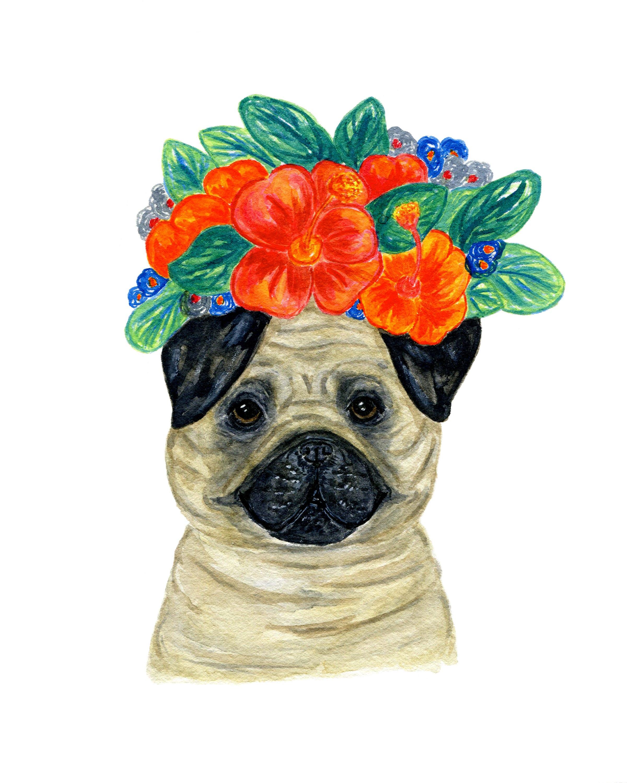Aquarell Hund Kunst Mops tropischen Blumen print tropischen