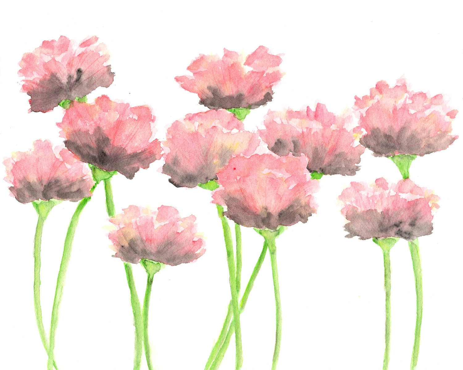 Nature Watercolor Flowers Painting Pink Poppies Abstract Etsy