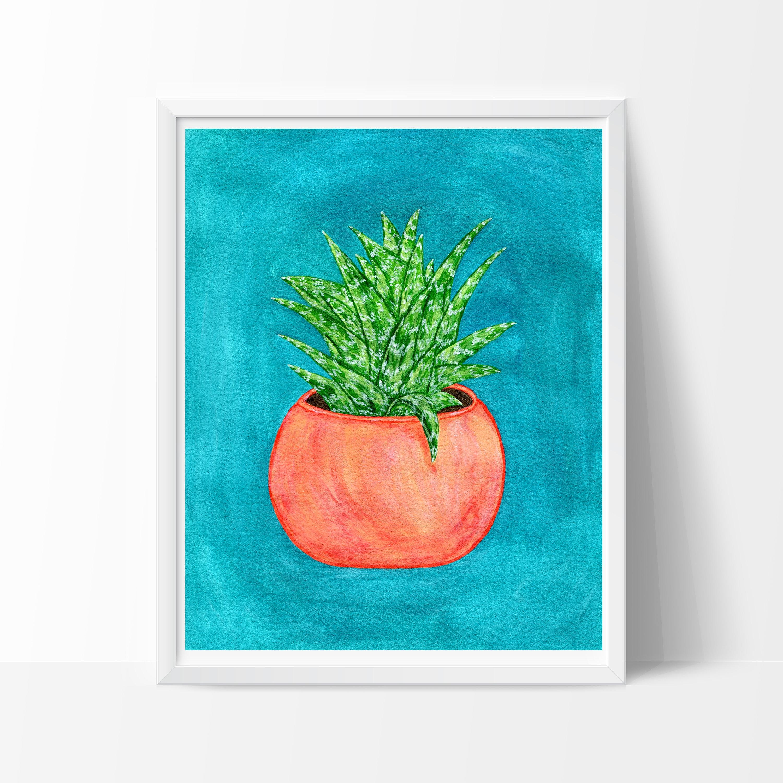 Gouache-Pflanze-Druck Pflanze Kunstdruck Kaktus Kunstdruck
