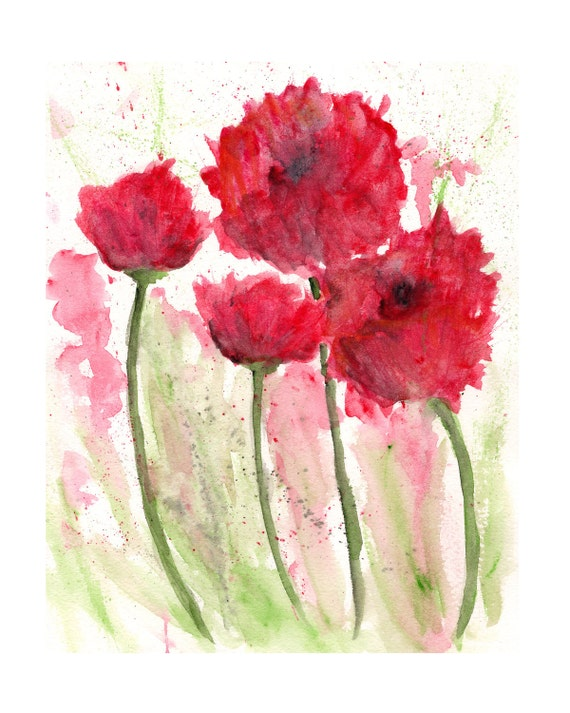 Watercolor flowers watercolor poppies flower painting etsy image 0 mightylinksfo