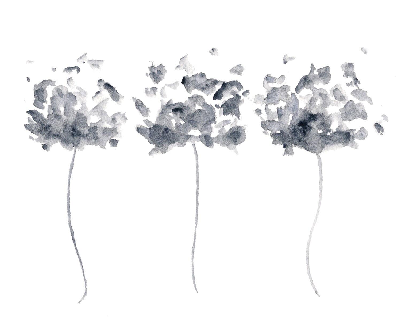 Flower painting flower art watercolor painting black and etsy flower painting flower art watercolor painting black and white flower print poppy art grey painting modern art 10x8 print mightylinksfo