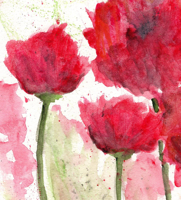 Watercolor flowers, watercolor poppies, flower painting, flower art, poppy painting, red flowers, modern flower art, poppy print, 8X10