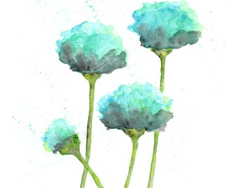 watercolor flower painting, watercolor poppies, flower art, abstract flower painting, poppy painting, mint green, blue, modern  - 8X10