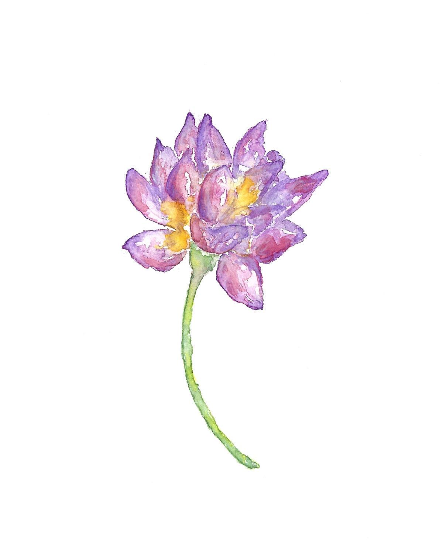 Watercolor Flower Print Lotus Flower Art Zen Print Lotus Etsy