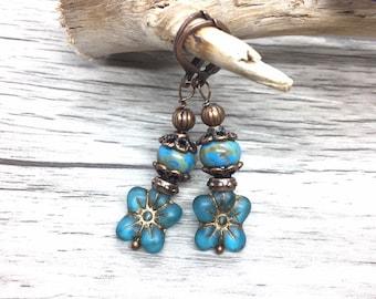 Lampwork Bell Flower Dangles Nature Jewelry Aqua Turquoise Flower Earrings Gift for Her