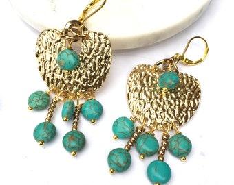 Golden and Turquoise Chandelier Earrings \ Gypsy Jewelry \ Geometric Bohemian Earrings \ Bellydance Chandeliers