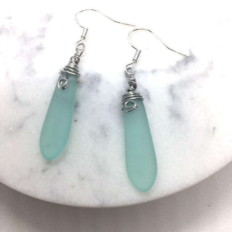 Aqua Seafoam Seaglass Earrings Slender Sterling  silver earrings Sea Glass  Teardrop Dangles Seaglass Wirewrapped Earrings