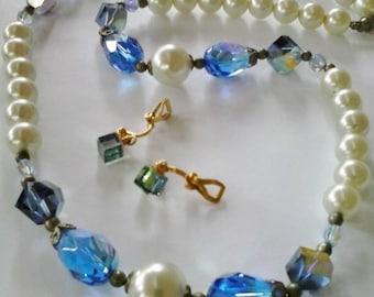 "Vintage Pearls & Blue Crystal 24""Necklace + Cube Earrings"