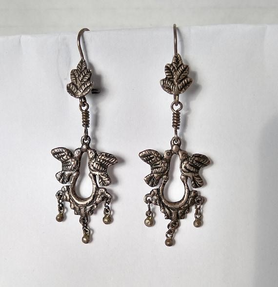 Victorian large dangle earrings Antique teardrop fan earrings Chandelier blue earrings Edwardian long gold earrings Blue boho earrings