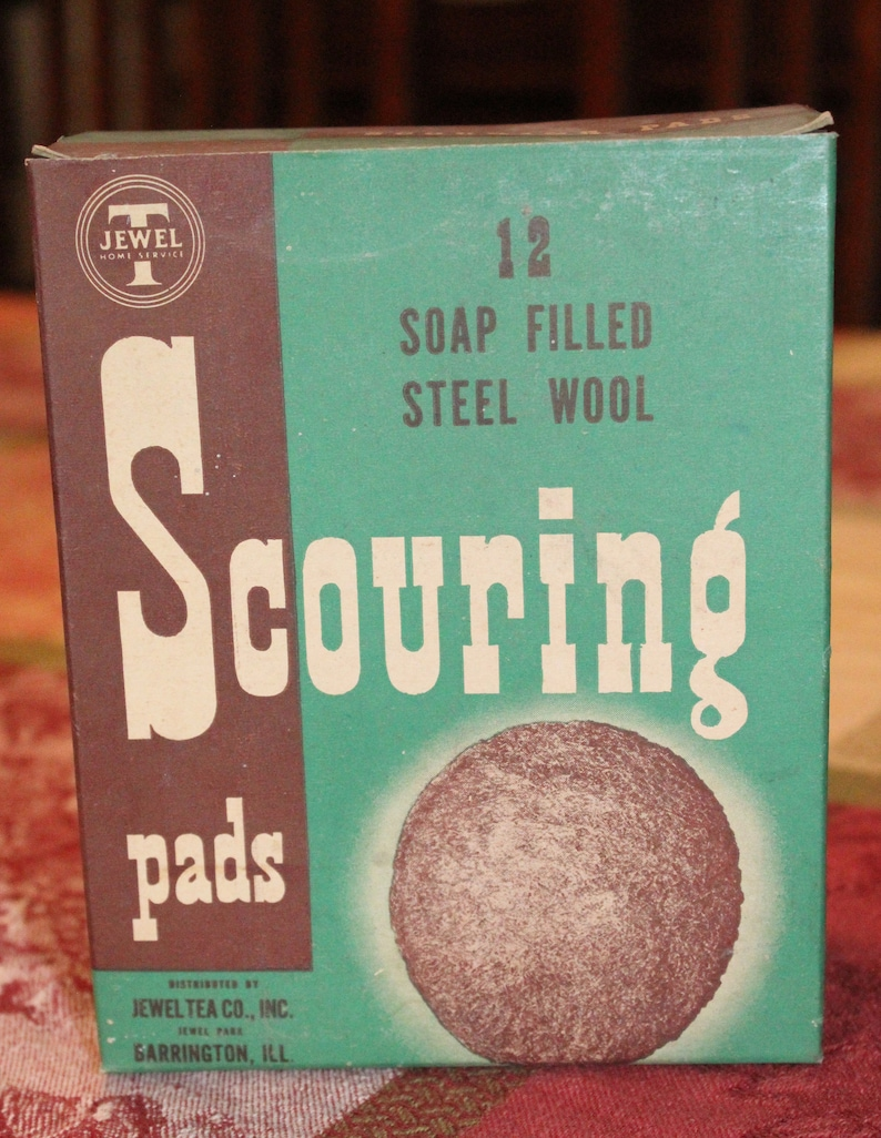 C  1950's Jewel 'T' Box of (12) Steel Wool Scouring Pads- Free Shipping to  USA!