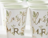 Gold FOILED Almost MRS ,Hen Party Cups 8 ct