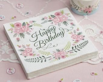 Floral paper napkins etsy floral paper napkins floral design happy birthday napkins decorations party supplies paper napkins mightylinksfo