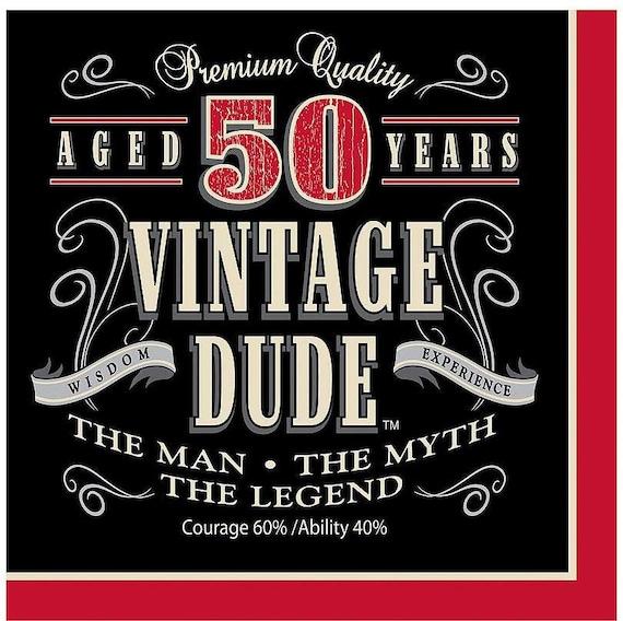 Guy Birthday Vintage Dude Birthday 50th Birthday Plates Masculine Birthday Aged to Perfection Birthday for Him 50 Birthday Party
