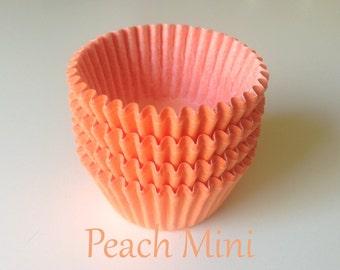 MINI Solid Peach  Cupcake Liners (50)