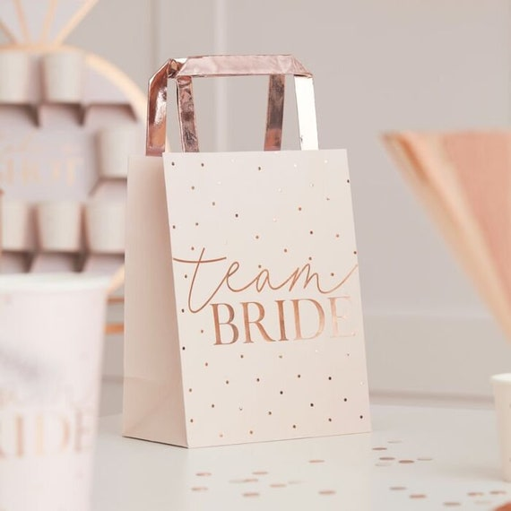 BRIDE Personalised Team Bride Hen party White Wedding Gift bag with Rose gold lettering