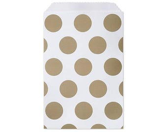 "Paper Bags,  25 bags, 4-3/4x6-3/4"" Gold Dots Paper Merchandise Bags"