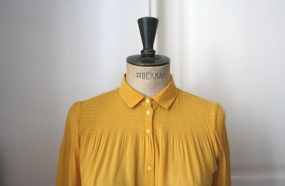 Vintage Bright Mustard Blouse // Chiffon Blouse.