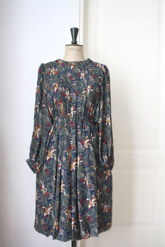Vintage Floral dress // Pleated dress // DEADSTOCK - image 2