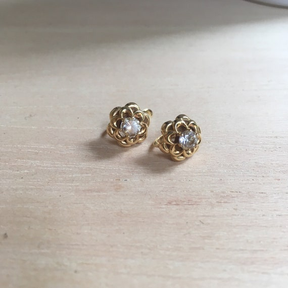 Gold earrings with zirconia stones / Vintage earri