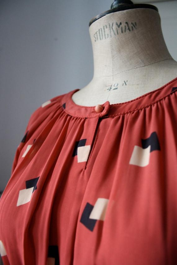 Vintage Geometric dress // Pleated dress // DEADS… - image 3