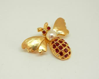 Vintage Bumble Bee Brooch, Gold Tone, Faux Pearl and Rubies