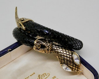 Vintage Retro Snake Bracelet, Mesh Serpent Bangle, Gold Tone, Retro Pin-Up Jewellery