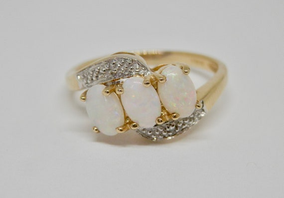Vintage 9ct Gold Engagement Ring 9k Opal Diamond Dress Etsy