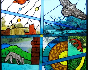 Yokum Designs' beautiful stained glass window panel with nature, planets; it's a world in itself/