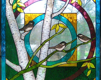 Chickadee mandala stained glass art window panel, beautiful transparent glass with traditional kiln fired painting technique. Ready to ship.