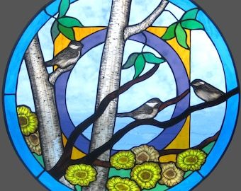Mandala stained glass chickadee and sunflower window panel. Beautiful transparent glass with traditional kiln fired painting technique.